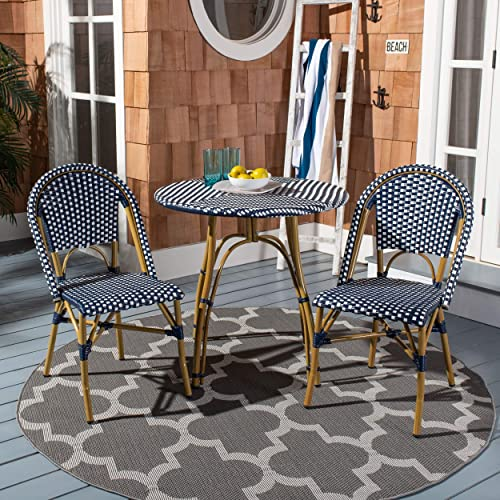 Safavieh FOX5210F-SET2 Collection Salcha Navy, White Light Brown Indoor Outdoor French Bistro Stacking Side Chair