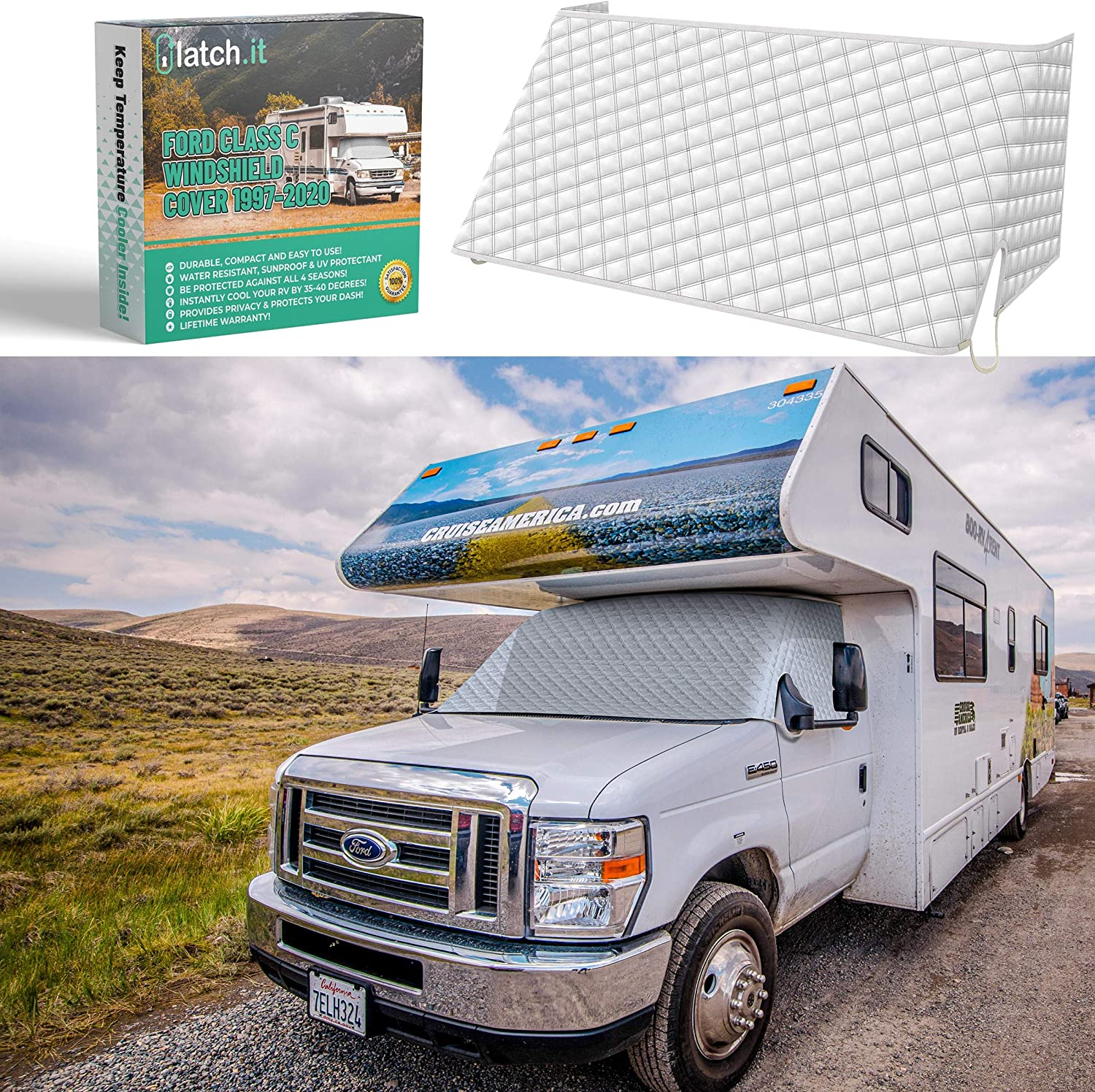 LATCH.IT RV Windshield Cover Class C | RV Front Windshield Cover Class C Compatible with Ford 1997-2020 | Class C Motorhome Windshield Cover w/Upgrade Mirror Cutouts and Elastic Corner Bands