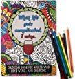 'When Life Gets Complicated, I Wine' - Funny Adult Coloring Book - Perfect White Elephant Gift Idea, Birthday Gift or Christmas Present - Includes Colored Pencils