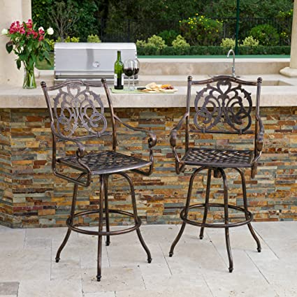 Amazing Great Deal Furniture Sierra Outdoor Cast Aluminum Swivel Bar Stools W Cushion Set Of 2 Download Free Architecture Designs Intelgarnamadebymaigaardcom