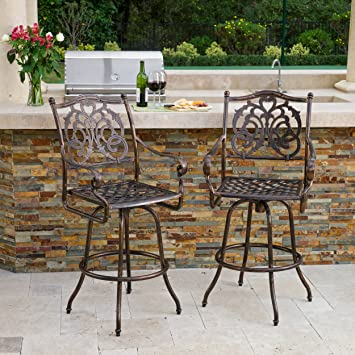Brilliant Christopher Knight Home Sierra Outdoor Cast Aluminum Swivel Bar Stools W Cushion Set Of 2 Antique Copper Andrewgaddart Wooden Chair Designs For Living Room Andrewgaddartcom