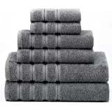 Premium, Luxury Hotel & Spa, 6 Piece Turkish Towel Set, 100% Genuine Cotton for Maximum Softness and Absorbency by American Soft Linen, [Worth $72.95] (Grey)