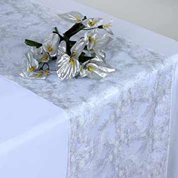 BalsaCircle 14u0026quot;x108u0026quot; Flowers Lace Table Runner   Silver On White
