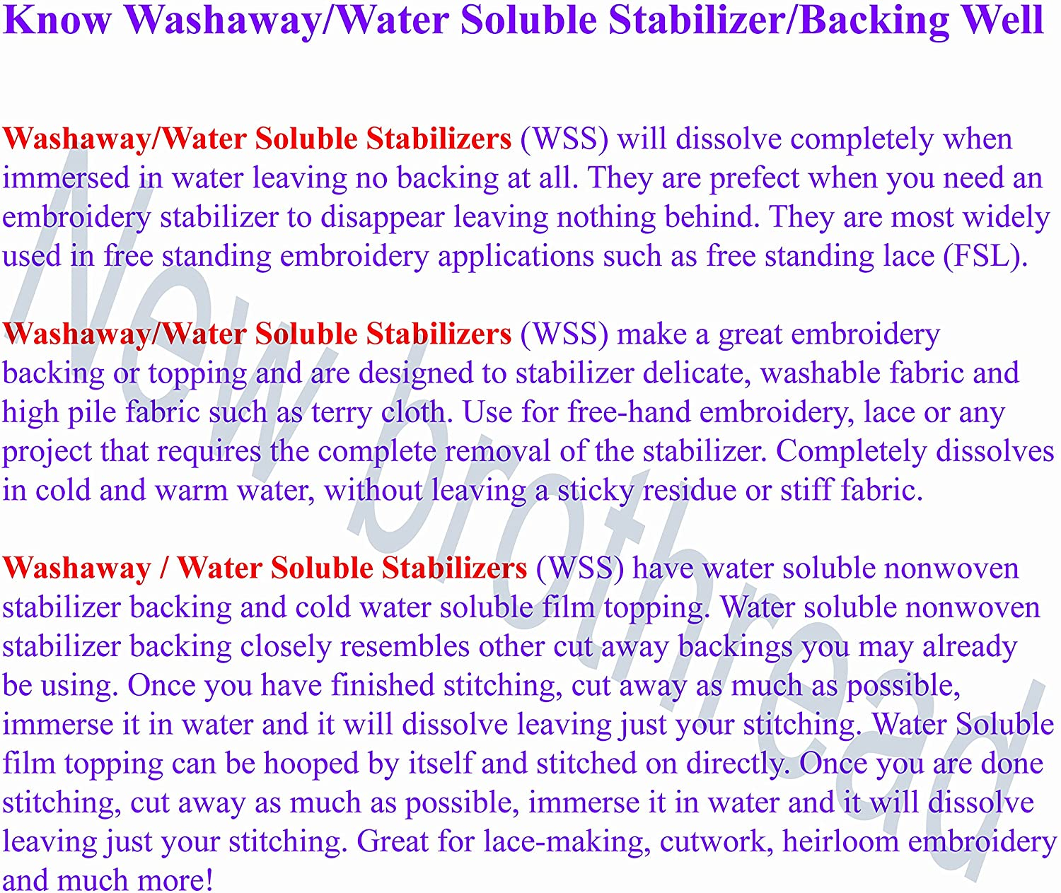 Water Soluble Machine Embroidery Stabilizer Backing /& New Brothread Wash Away