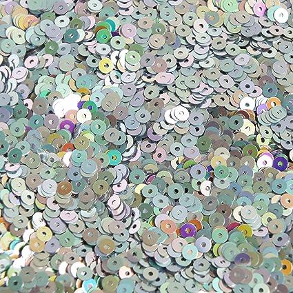 5mm Flat SEQUIN PAILLETTES ~ Silver Iris Rainbow Metallic ~ Made in USA