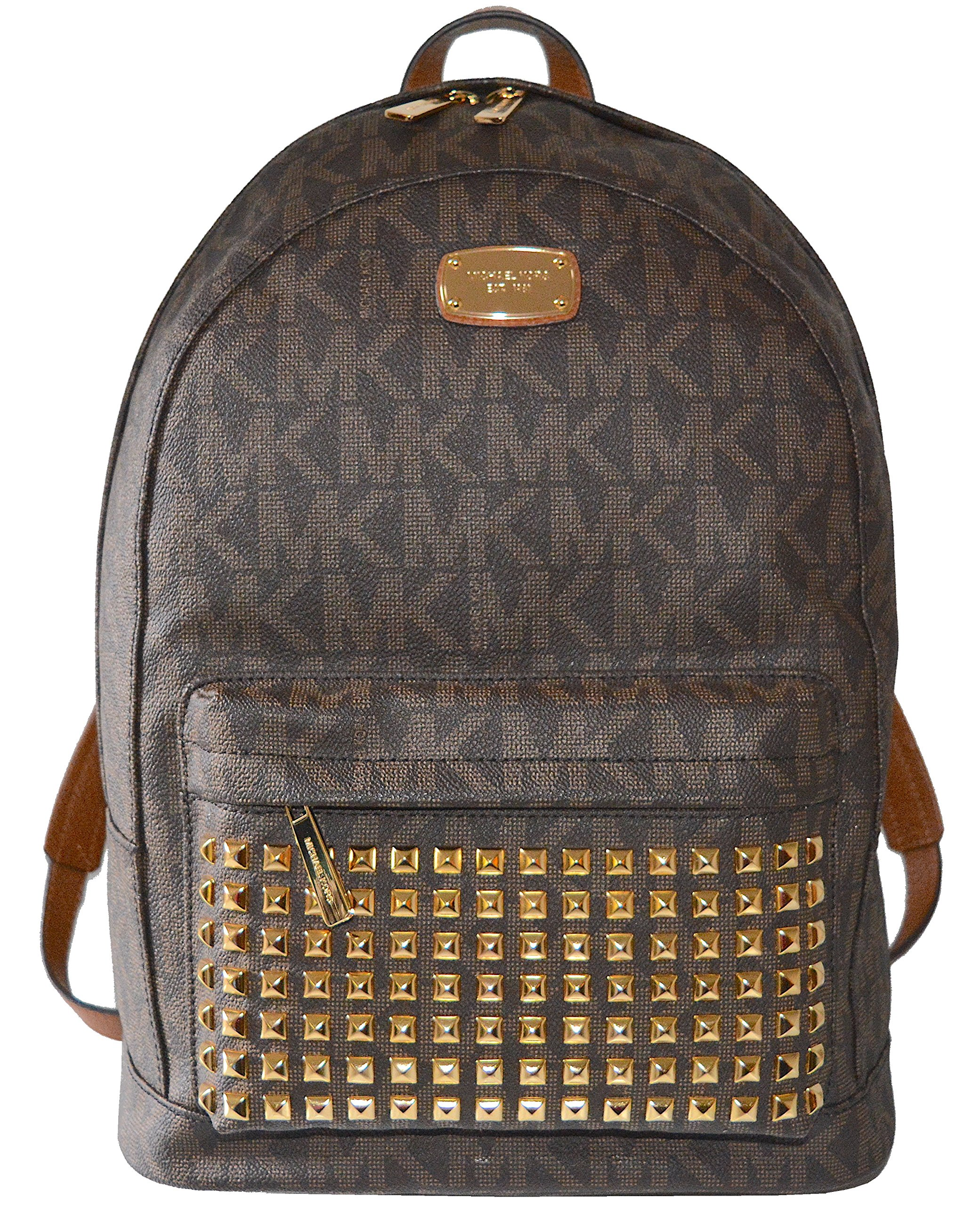 3c8e553c7434 Galleon - Michael Kors Studded Jet Set Large Backpack PVC (Brown)