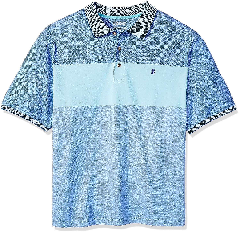 IZOD Mens Slim Fit Advantage Performance Short Sleeve Colorblock Polo