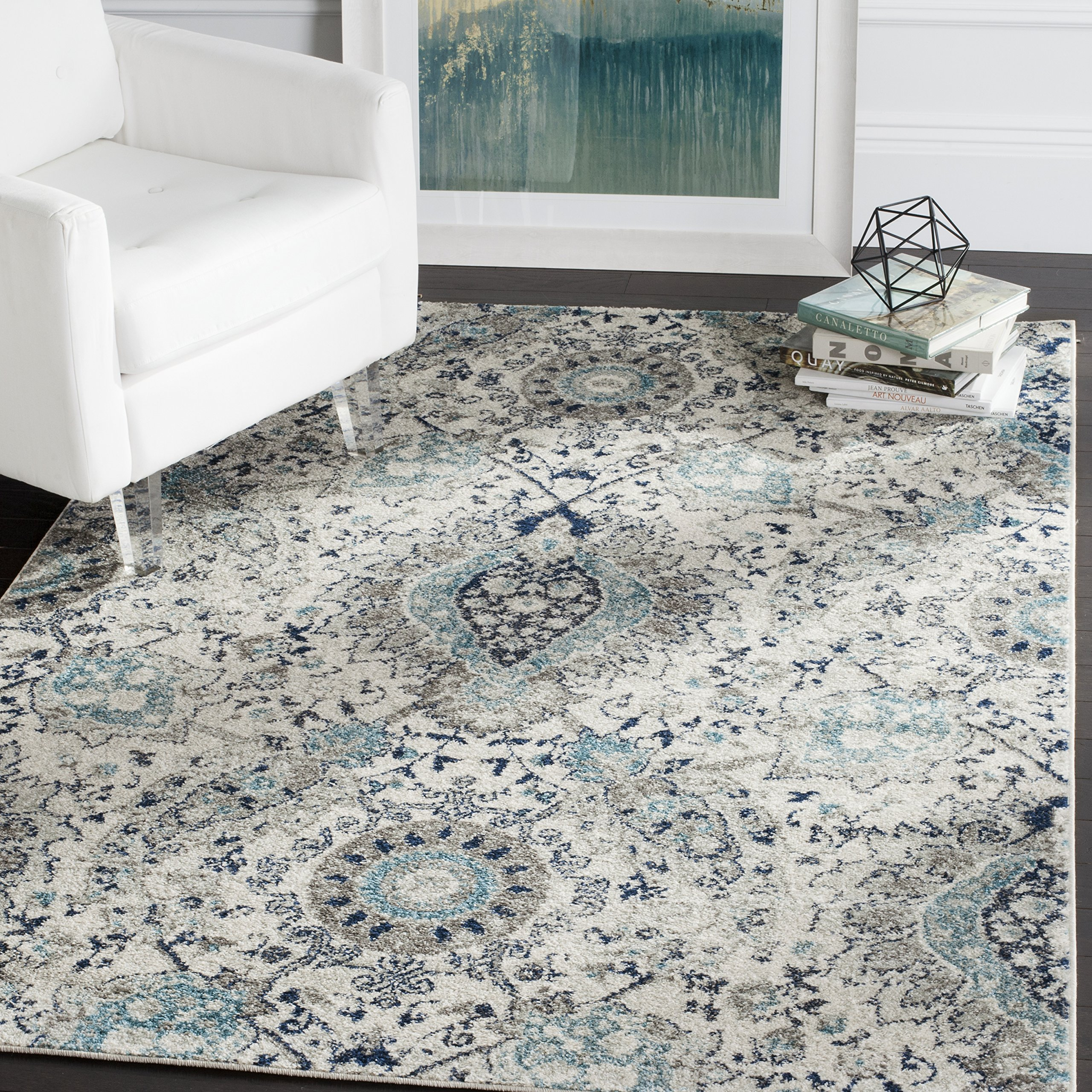 Safavieh Madison Collection MAD600C Cream and Light Grey Contemporary Paisley Area Rug (12' x 18')