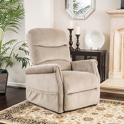 Merveilleux Alan Latte Fabric Lift Up Chair And Recliner