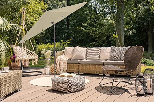 Secret Garden Home Goods Pismo Dawn 9ft Round Premium Push Tilt Market Umbrella Antique Bronze, Sunbrella- Antique Beige