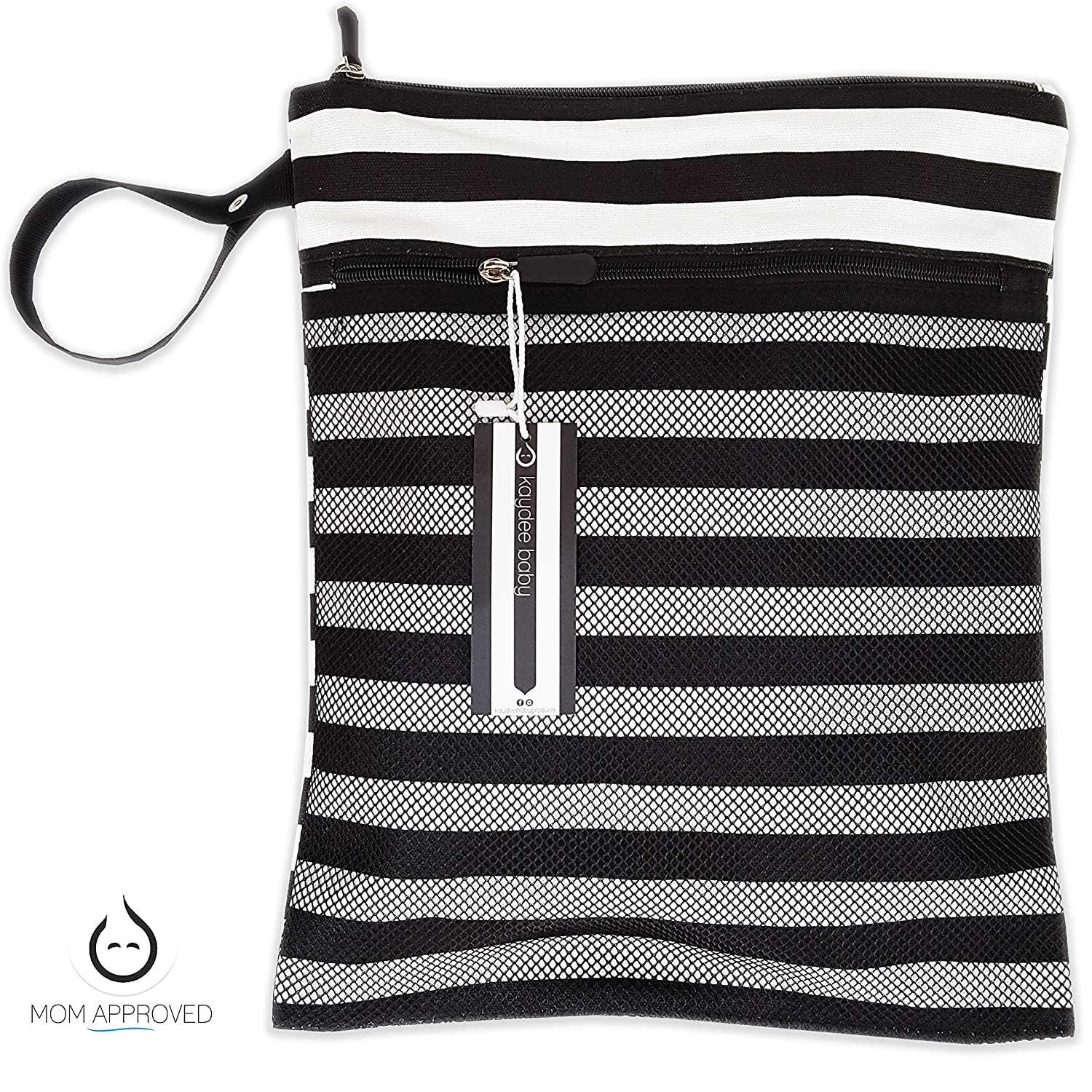 Kaydee Baby Canvas Wet Dry Cloth Diaper Swimsuit Bag Mesh Outer Pocket for Dry Items Black and White Stripe Black White Stripe Perfect Registry Gift Waterproof PUL for Damp Clothes