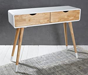 Wholesaler GmbH Table Console Bois Blanc Nature Console Coiffeuse Buffet Moderne Table Design