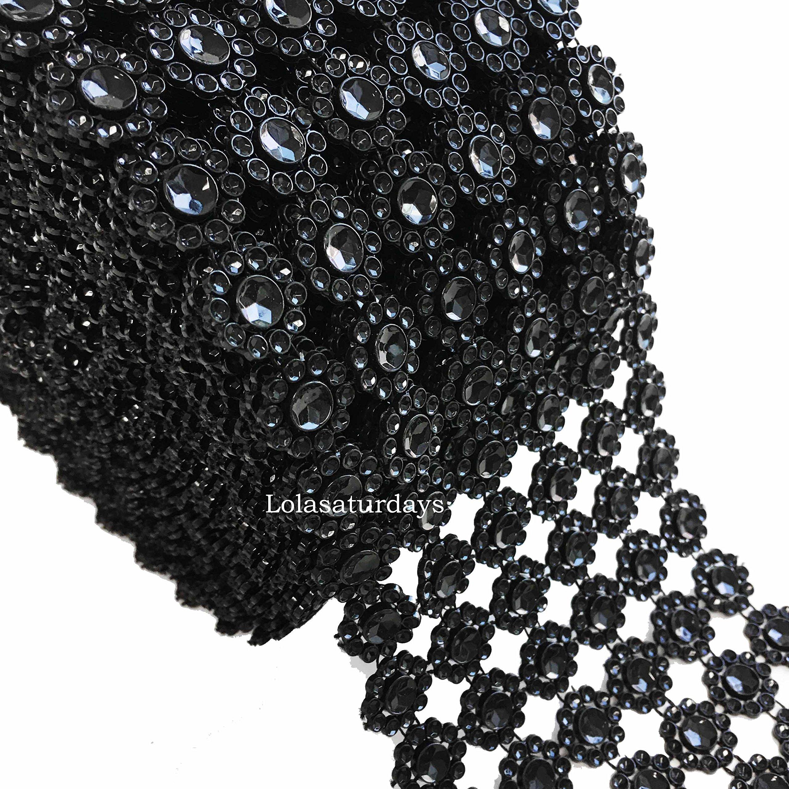 LolaSaturdays 4.5x 30FT Diamond Rhinestone Ribbon Wrap Roll Cake and Party Decoration Diamond, Black
