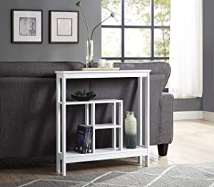 White Finish Slim Entry Way Console Sofa Table - Space-Saving Accent Hallway Table Display Shelves by RAAMZO