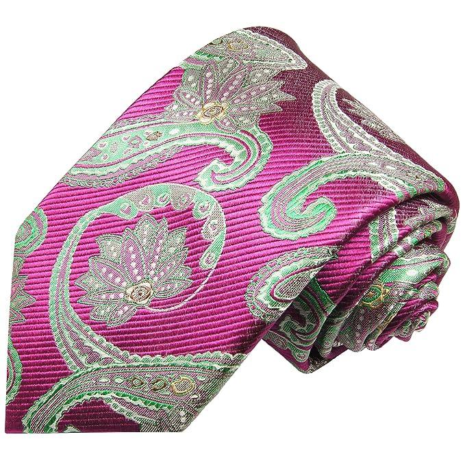 Paul Malone corbata de seda paisley verde rosa: Amazon.es: Ropa y ...