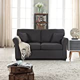 Classic and Traditional Ultra Comfortable Linen Fabric Loveseat - Living Room Fabric Couch (Dark Grey)