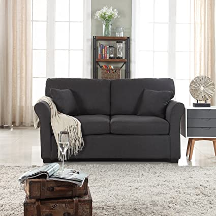 Classic and Traditional Ultra Comfortable Linen Fabric Loveseat - Living Room Fabric Couch (Dark Grey