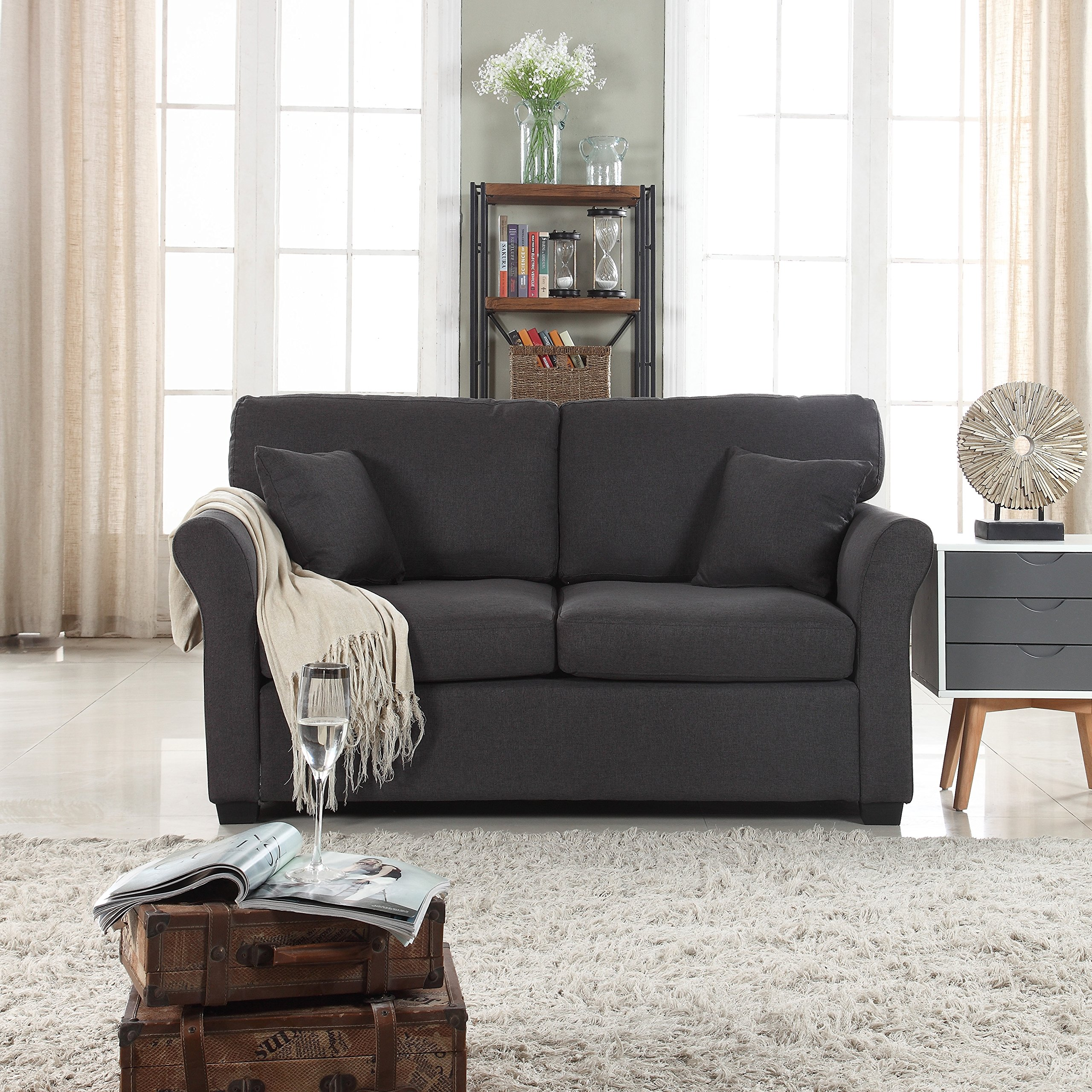 Classic and Traditional Ultra Comfortable Linen Fabric Loveseat – Living Room Fabric Couch