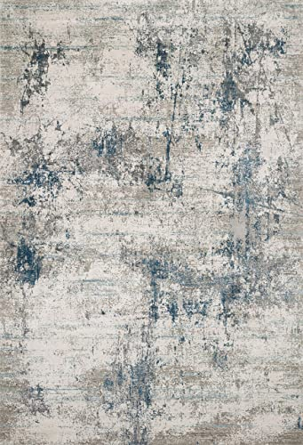 Loloi S Sienne Collection Dstressed Abstract Area Rug 2'-7″ x 10'-0″ Runner Ivory/Ocean
