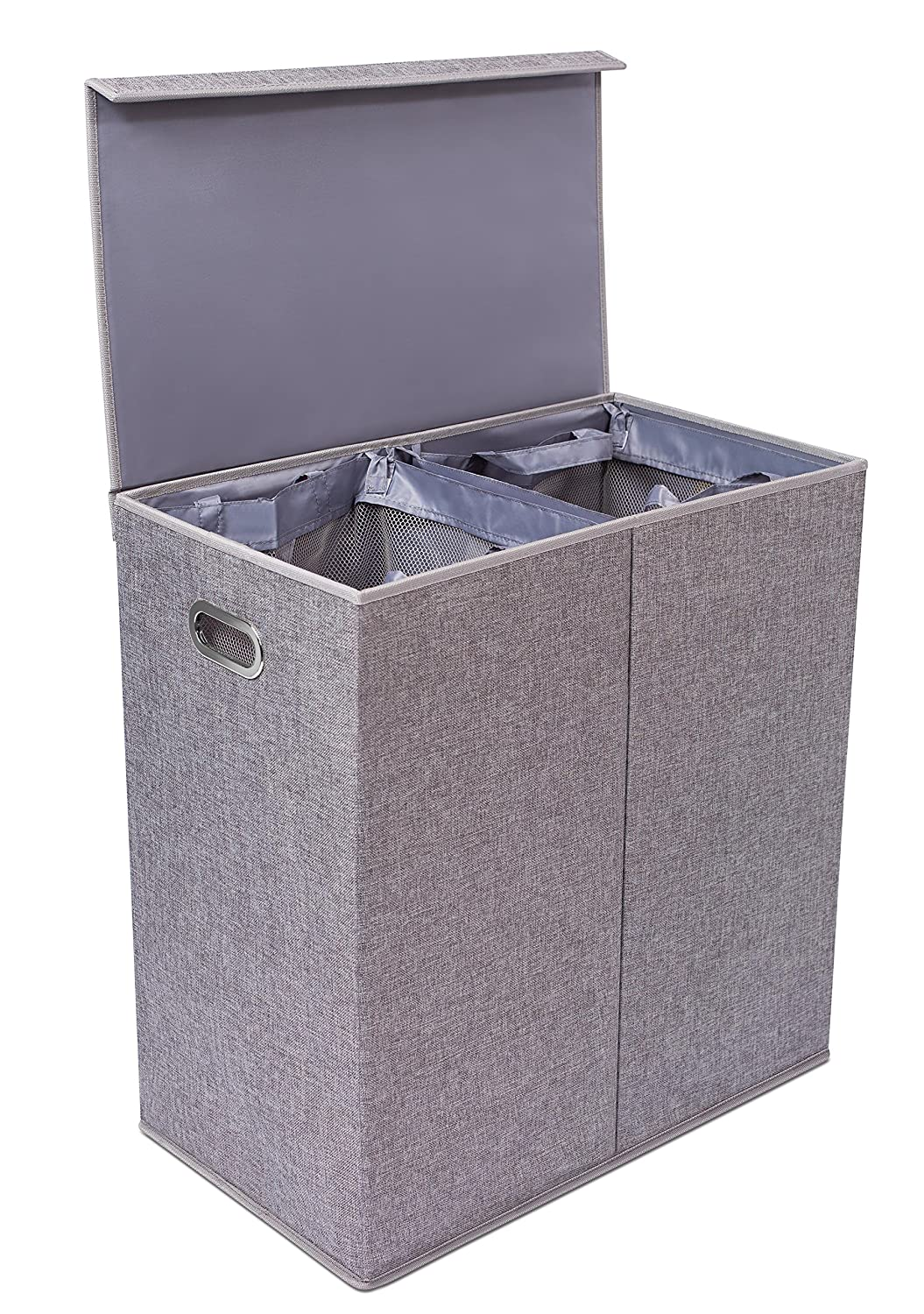 Double Laundry Hamper with Lid and Removable Liners | Linen | Easily Transport Laundry | Foldable Hamper | Cut Out Handles