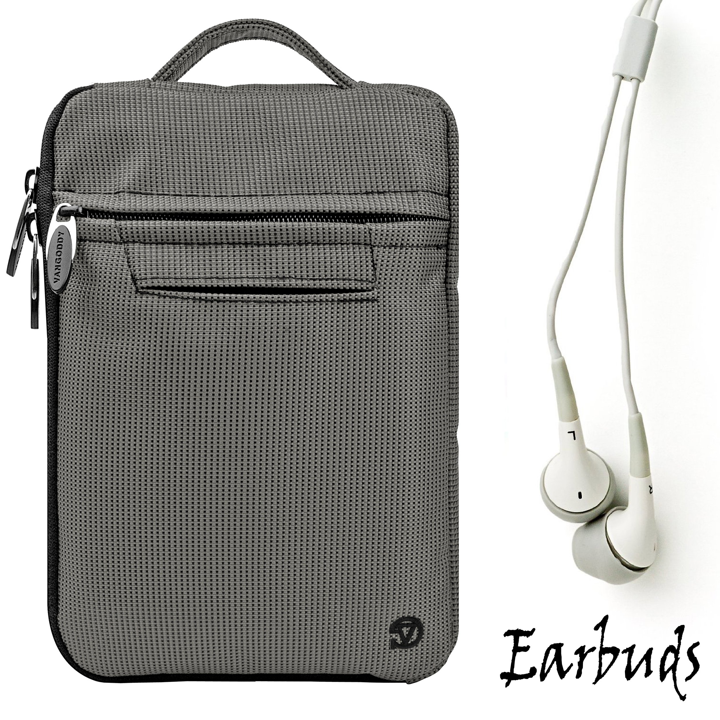 Gray Mighty Nylon Jacket Slim Compact Protective Sleeve Bag Case with accessories compartment for Amazon Kindle ( Wi-Fi 6'' E-Ink Display ) + Includes a Crystal Clear HD Noise Filter Ear buds Earphones Headphones ( 3.5mm Jack )