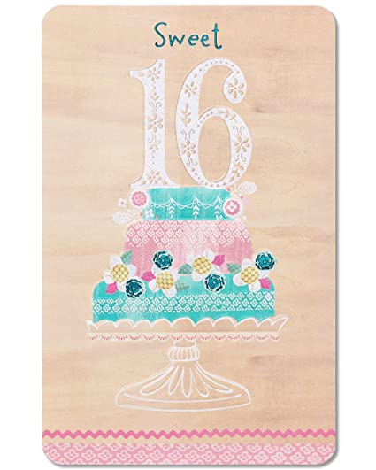 Amazon American Greetings Sweet 16 Birthday Cake Greeting Card With Glitter Office Products