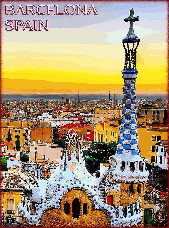Amazon.com: A SLICE IN TIME Barcelona Cityscape Spain Spanish Europe ...