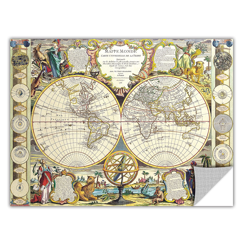 14 by 18-Inch ArtWall Samuel Dunn Mappe-Monde Carte Universelle de la Terre Dressee Removable Graphic Wall Art