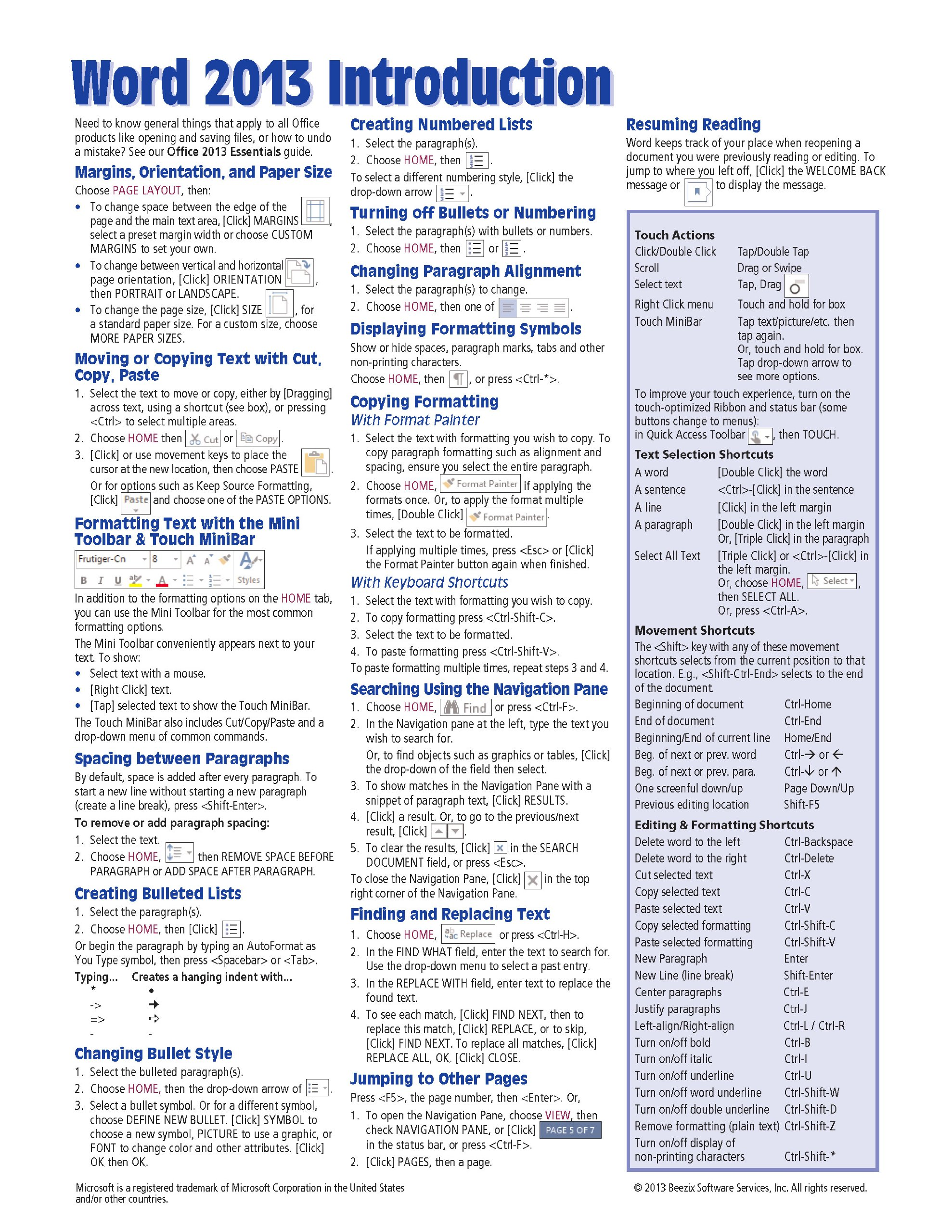 microsoft word 2013 introduction quick reference guide cheat sheet of instructions tips shortcuts laminated card beezix inc 9781936220816