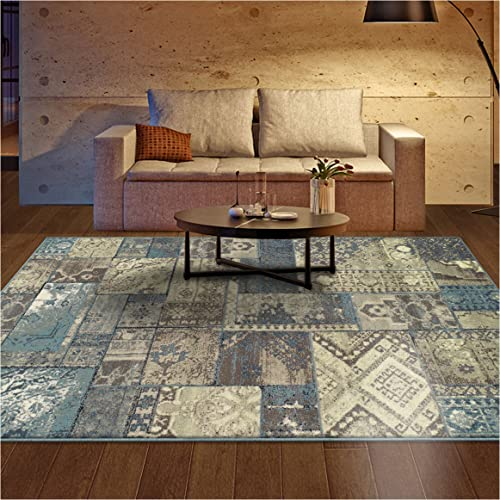 Superior Zedler Collection Area Rug, 10mm Pile Height with Jute Backing, Fashionable and Affordable Rugs, Vintage Oriental Patchwork Rug Design – 8 x 10 Rug, Blue and Beige