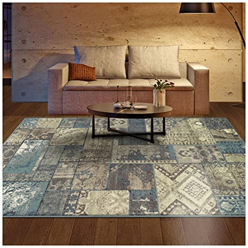 Superior Zedler Collection Area Rug, 10mm Pile Height with Jute Backing, Fashionable and Affordable Rugs, Vintage Oriental Patchwork Rug Design – 5 x 8 Rug, Blue and Beige