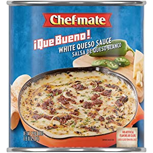 Chef-mate Que Bueno White Queso and Nacho Cheese Sauce, Canned Food, 6 lb. 10 oz. Bulk Can