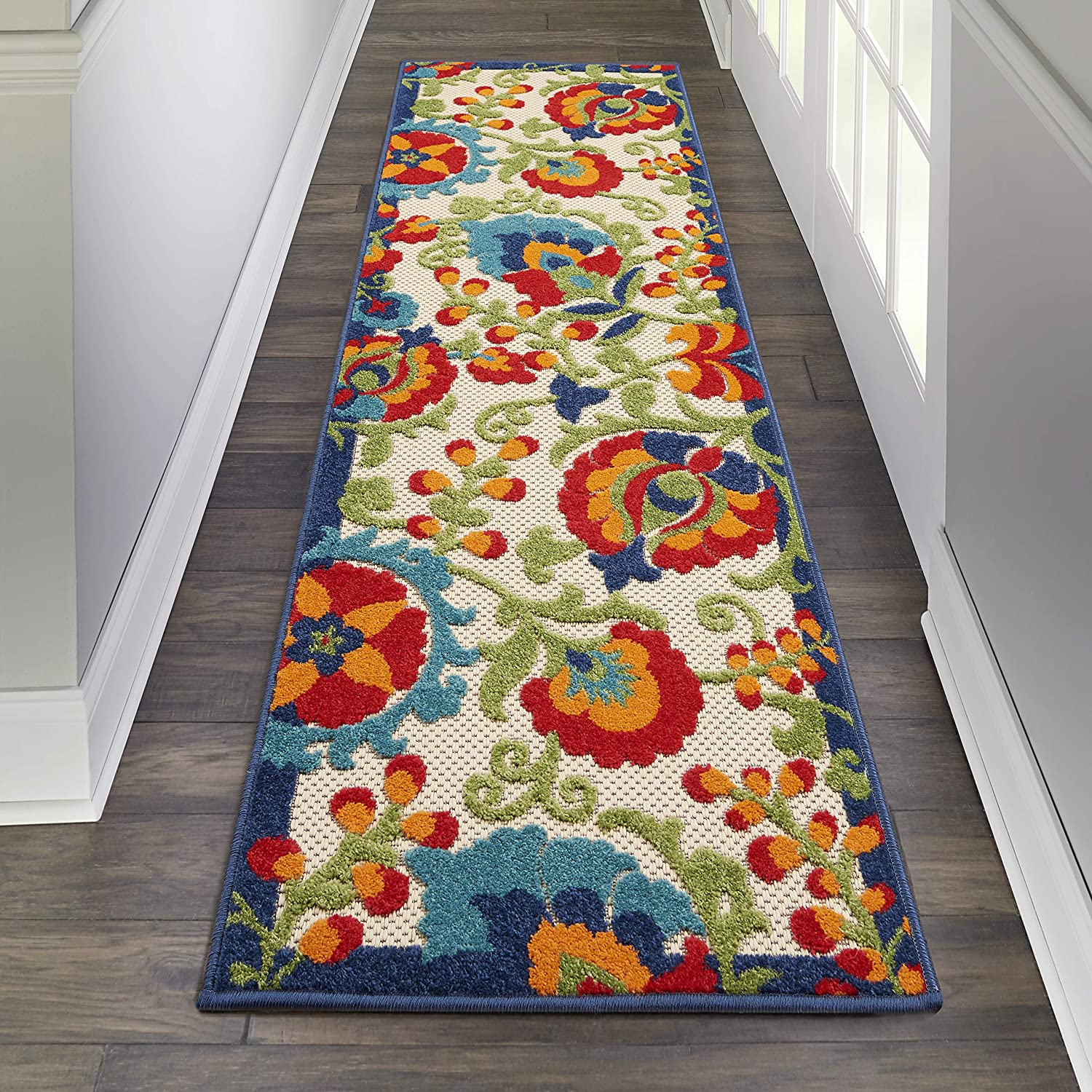 Nourison Aloha Indoor/Outdoor Floral Multicolor Area Rug Runner (2'x6')
