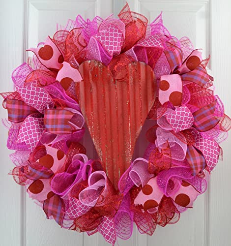 Valentineu0027s Day Wreath | Valentine Wreath | Valentines Mesh Door Wreath |  Heart Wreath | Red