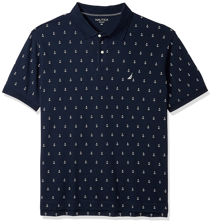 Nautica Mens Classic Short Sleeve Solid Deck Polo Shirt