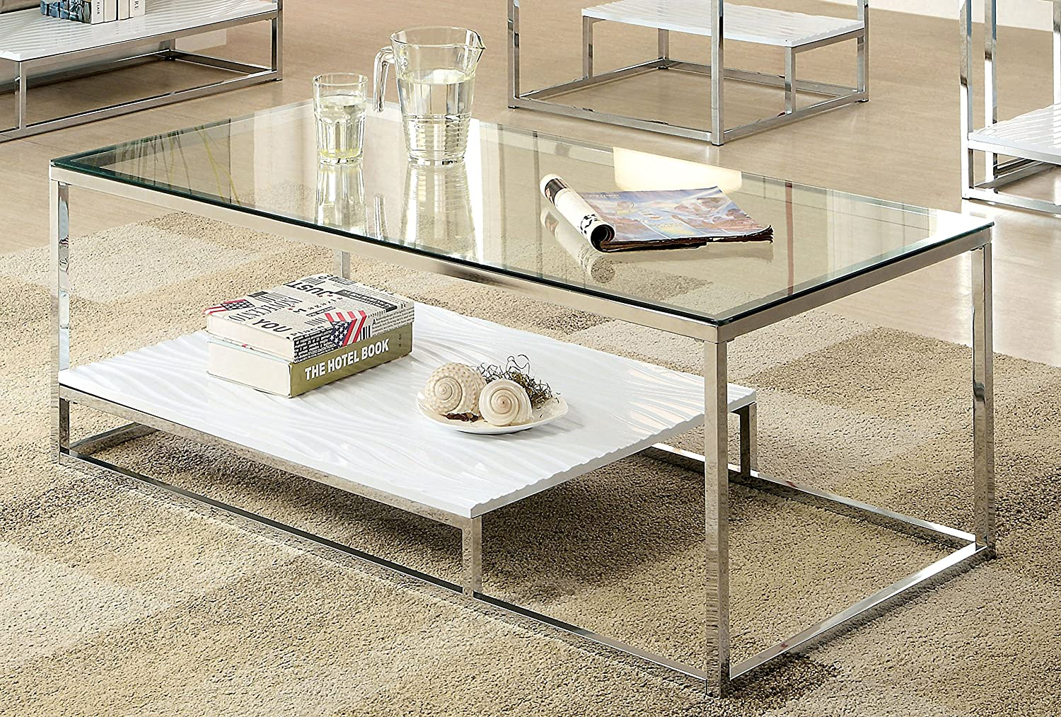 Amazon.com: Furniture Of America Gacelle Contemporary Glass Top Coffee Table,  White: Kitchen U0026 Dining
