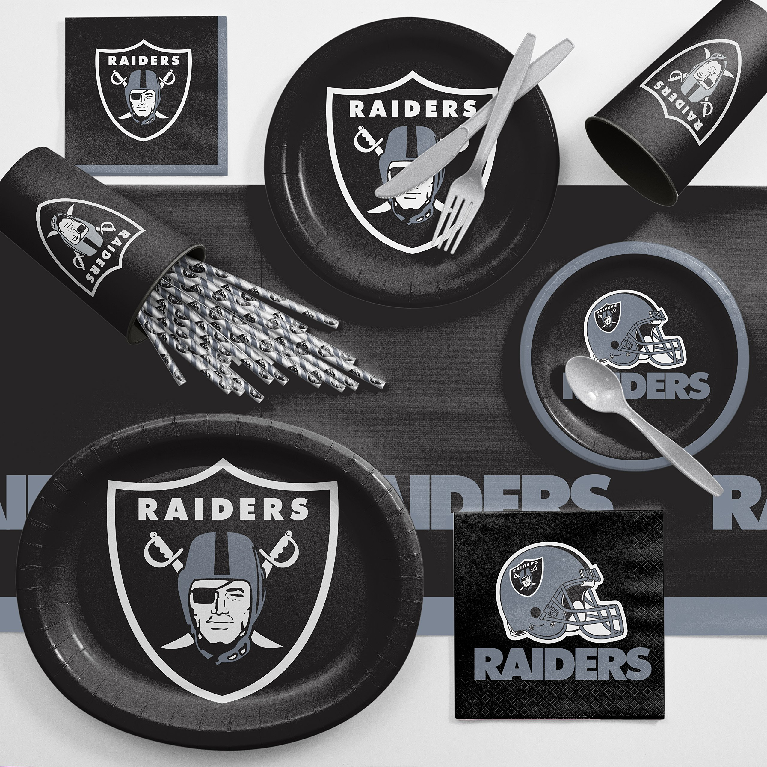 Creative Converting Oakland Raiders Ultimate Fan Party Supplies Kit, Serves 8