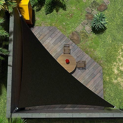 Amgo ATAPRT24 Custom Size 24' x 24' x 33.9' Black Right Triangle Sun Shade Sail Canopy Awning