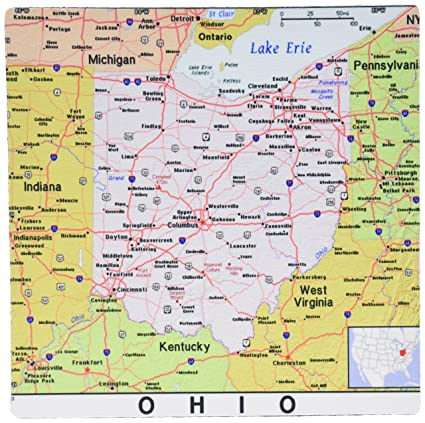 3dRose LLC 8 x 8 x 0.25 Inches Mouse Pad, Print Of Ohio Cities And State  Map (mp_184614_1)