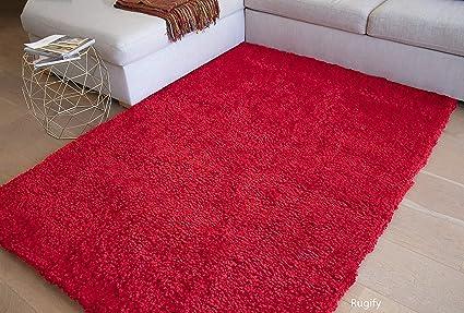 8'x10' Feet Popcorn Style Red Lipstick True Sports Car Red Shaggy Shag Area