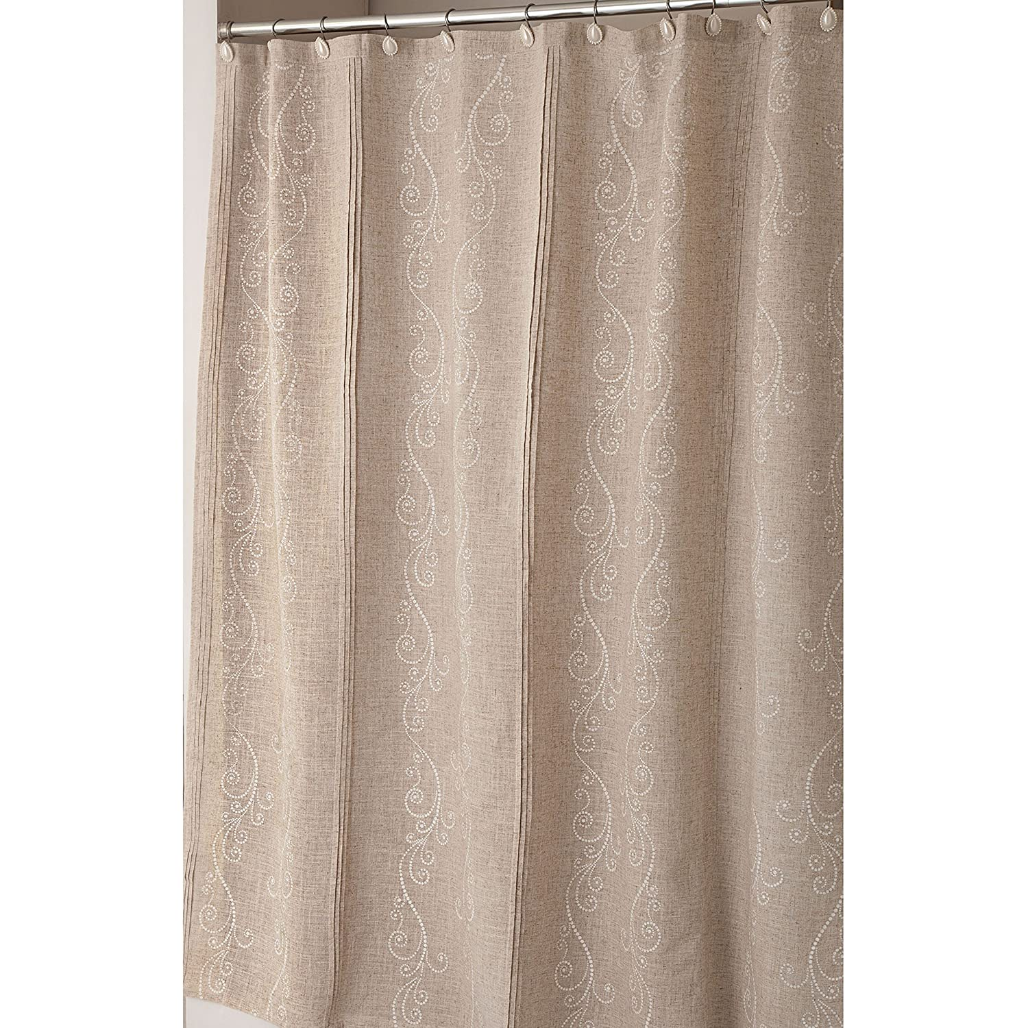 Amazon Lenox Pin Tuck Shower Curtain French Perle Home Kitchen