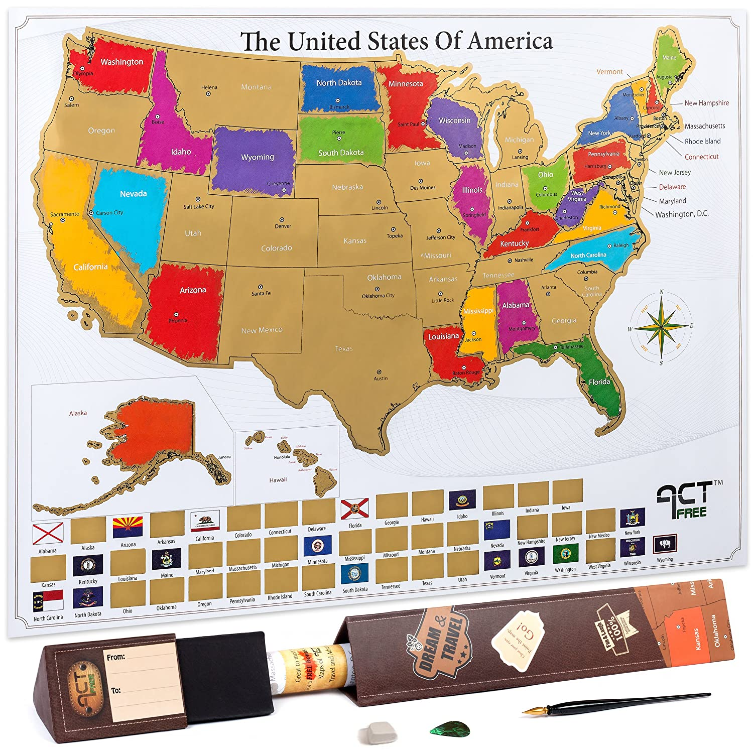 Amazon Com Scratch Off Map Us State 17x22 5in Large Premium Us