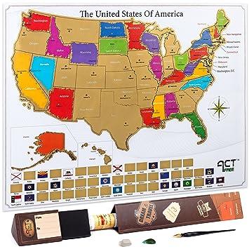 actfree Rasca Mapa EE. UU. Viajes mapa incluye caja de regalo ...