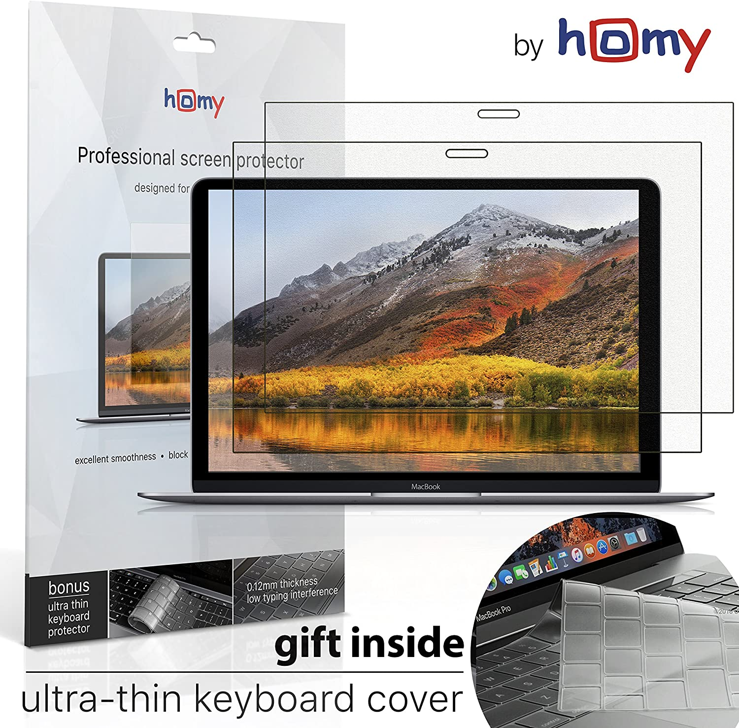Homy Screen Protector Kit [2-Pack] for MacBook Pro 15 inch Touch Bar 2016-2020: 1x Matte, 1x Glare. Gift: Ultra-Thin TPU Keyboard Cover (like skin). Premium Apple Laptop Kit 15inch Model A1707, A1990.