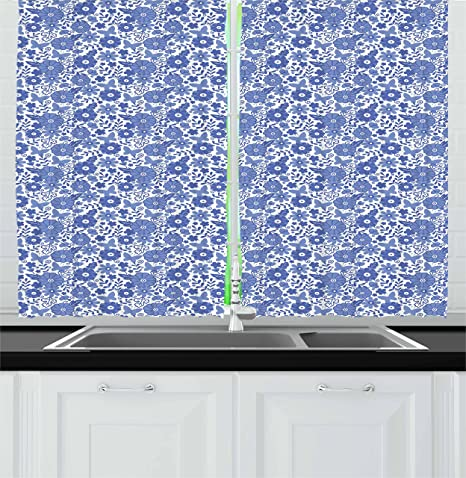 Ambesonne Dutch Kitchen Curtains Delft Style Flowers In Doodle Style Abstract Petals Leaves Butterflies Window Drapes 2 Panel Set For Kitchen Cafe Decor 55 X 39 Violet Blue And White Home