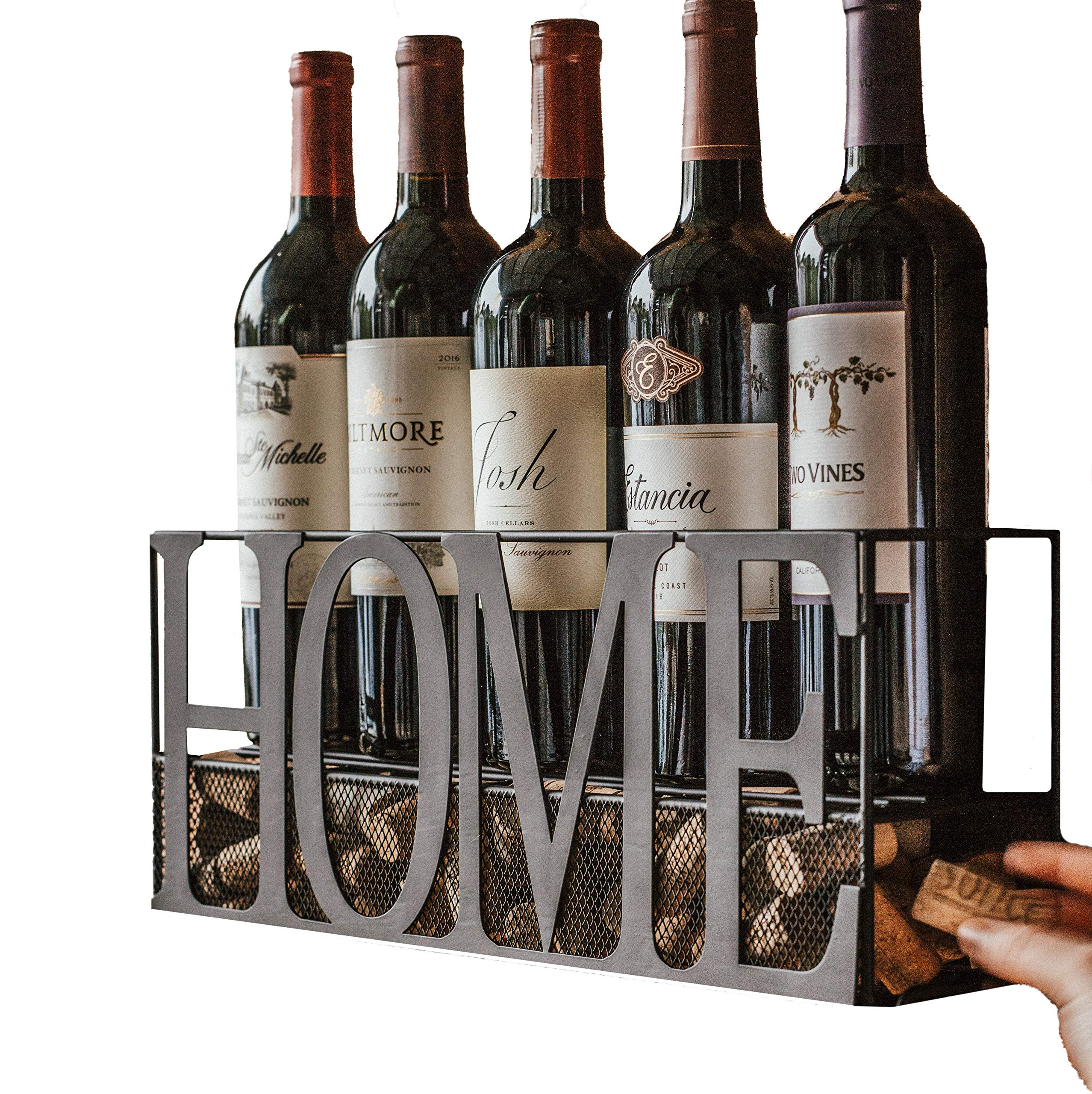MKZ Products Wall Mounted Metal Home Wine Rack   Wine Bottle   Hanging Stemware Glass Holder   Cork Storage   Storage Rack   Home & Kitchen Decor