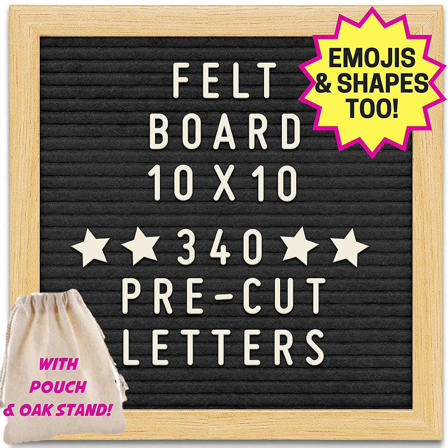 Black Felt Letter Board with 10X10 Wooden Frame and Stand. Includes 340 Changeable Pre-Cut Letters, Numbers & Emojis Separated in Canvas Bag - Best for Sharing Your Message. Mommy Marvel
