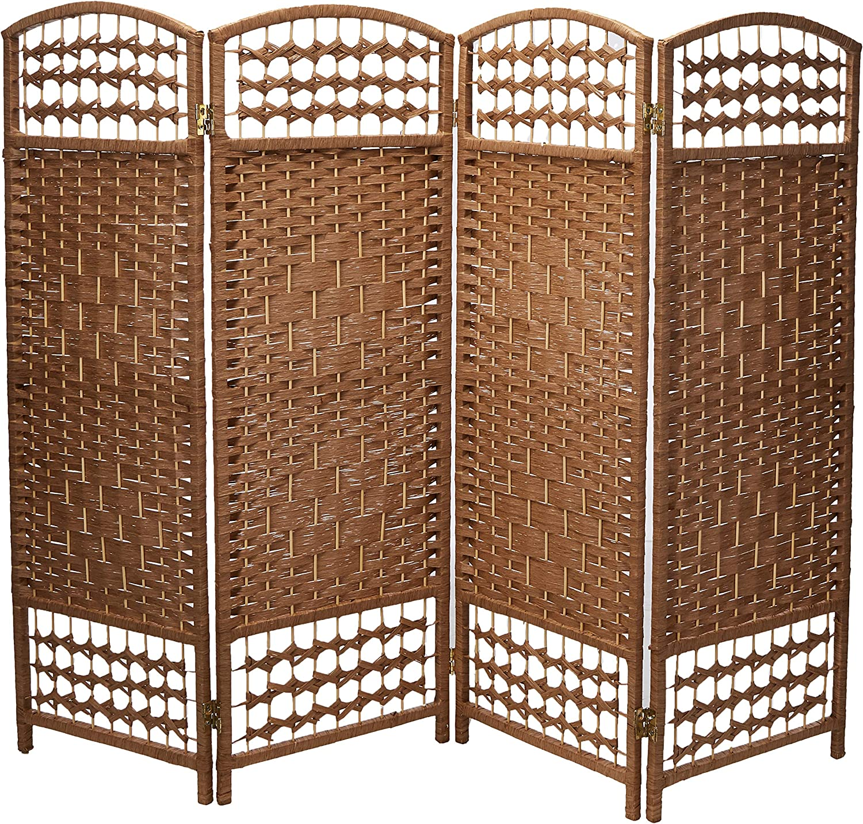 Oriental Furniture 4 ft. Tall Fiber Weave Room Divider - Natural - 4 Panels