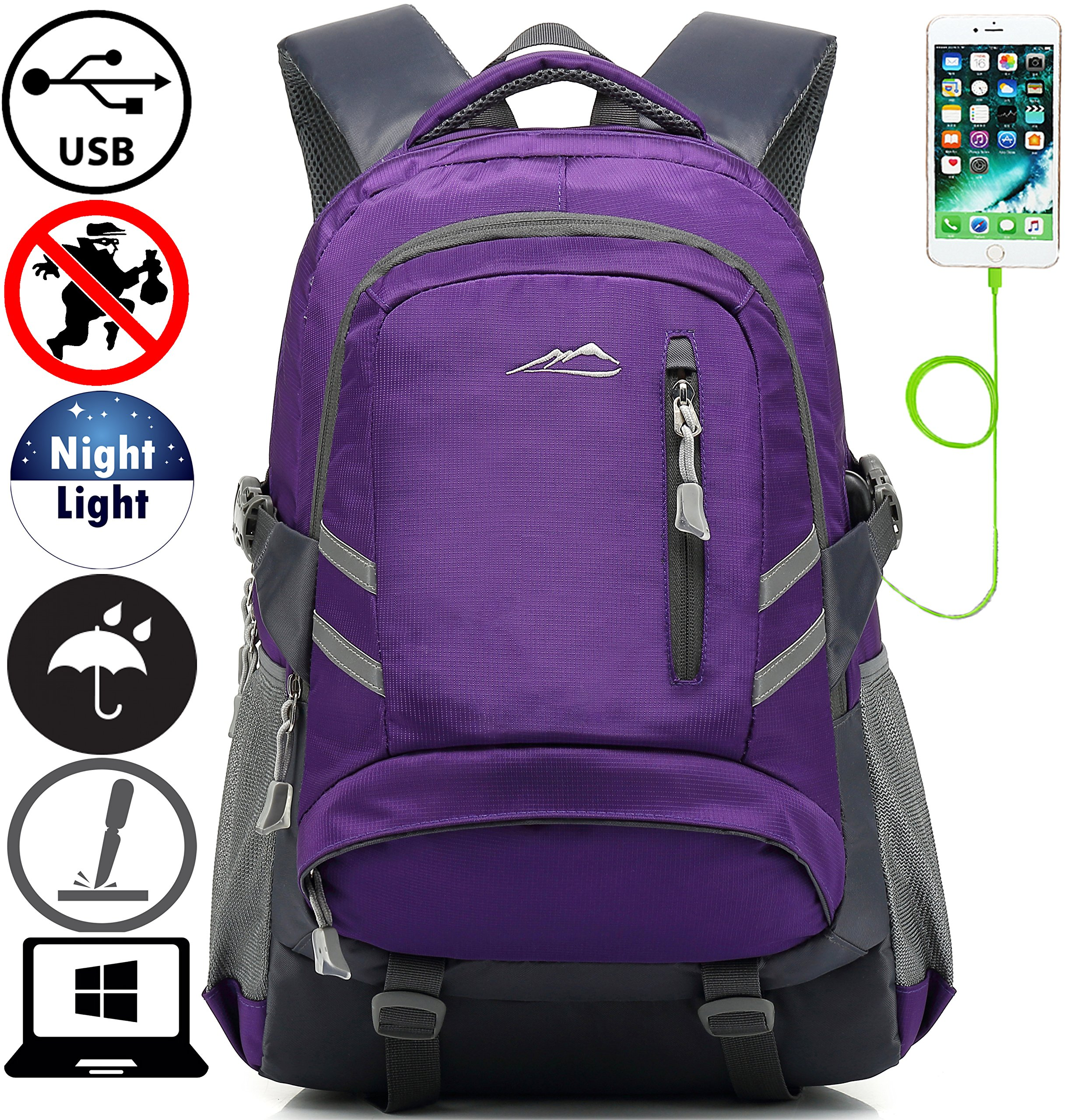Backpack Bookbag For School College Student Travel Business With USB Charging Port Water Resistant Fit Laptop Up to 15.6 Inch Anti theft Night Light Reflective (Purple)