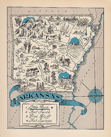 Amazon.com: Vintage Arkansas State Map 1930s Blue Cartoon Map of ...